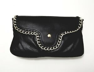 2c42f1557 Yoki Black Faux Leather Gold Chain Crossbody Clutch Purse Adjustable ...