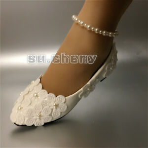 ab40c581fd7 su.cheny Ivory white lace pearl flower anklet Wedding Bridal flats ...