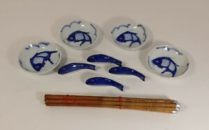 Vintage Blue Carp Handpainted Sauce Dishes,Chopstick and Rests 4