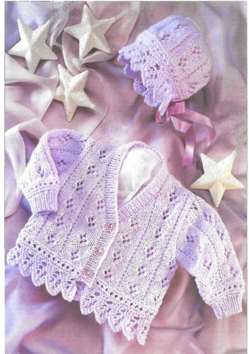S3009 Vintage Baby Girls Knitting Pattern Lacy Cardigan and Bonnet 0-6 years