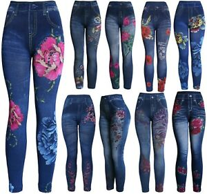 High-Waist-Women-039-s-Denim-Print-Fake-Faux-Jeans-Leggings-Pants