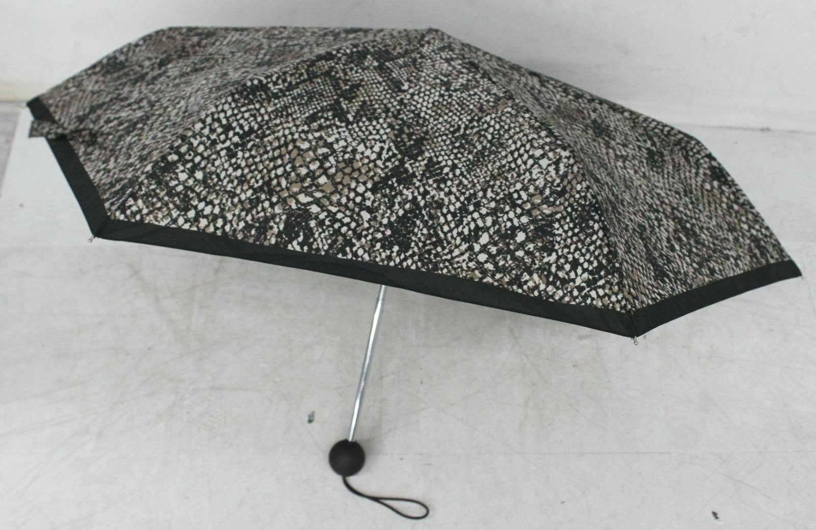 HOBBS Ladies Brown Snake Print Round Handle Compact Foldable Umbrella FAULTY