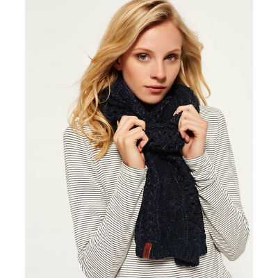 New Womens Superdry North Cable Scarf Fortune Navy Sparkle