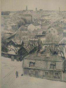 Gravure 1936 signée Hans Fredrik Johanson Norsbo engraving Swedish painter