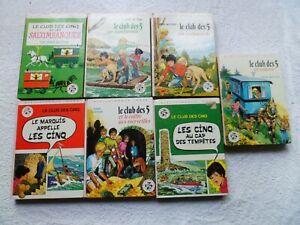Lot n°20 de 7 Livres Bibliothèque Rose Série Le club des 5 par Enid Blyton