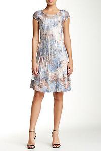 8e6ef9b9a9a NWT  278 KOMAROV Charmeuse Lace insert Flare Dress Floral Animal ...