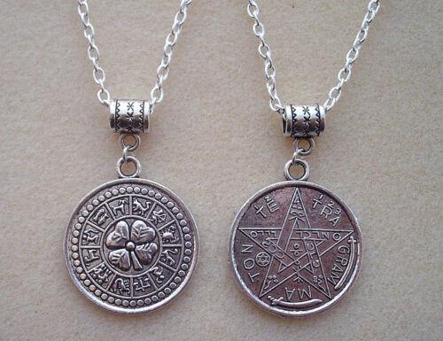 Reversable Tetragrammaton Pentagram Zodiac Good Luck Amulet Magic Charm Necklace