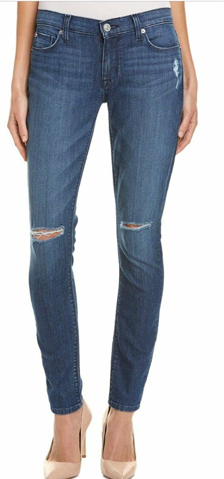 AUTHENTIC HUDSON  KRISTA SUPER SKINNY STRETCH RIPPED JEANS NICE   32 14