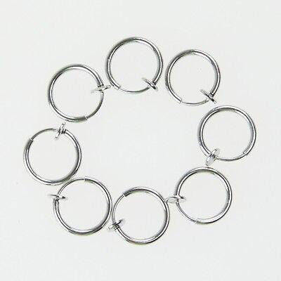8 Clip On Fake Piercings Rings Ear Nose Lip Earrings Body Jewellery