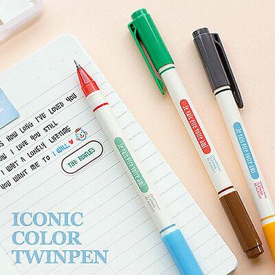 0.4mm Gel Pen_3EA (6 Colors) in Set_Iconic Twin Color Pen_6 Colours ink Pen Pack