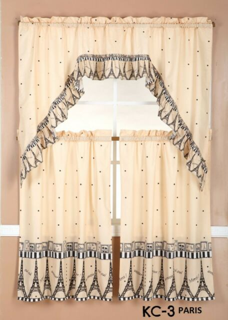 3 Piece Kitchen Curtain Set 2 Tiers And 1 Valance Flowers