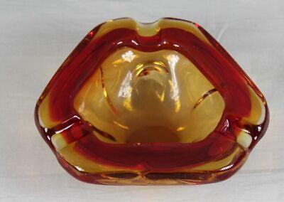 1970er Jahre Glas Aschenbecher - Dickes Schweres Farbiges Glas - Ca. 1 Kg. /s81 Taille Und Sehnen StäRken