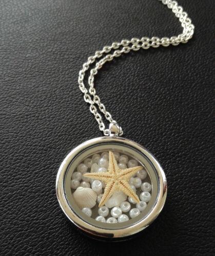 Kette Meerjungfrau Seestern Muschel Perlen Halskette Anhänger Medaillon  38-80cm