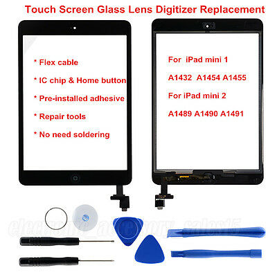 iPad mini  Black  Front Panel Touch Screen Glass Digitizer Home Button Assembly