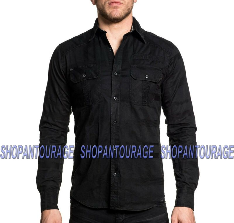 Affliction Undertake 110wv709 Men`s New Black Long Sleeve Button-down Shirt