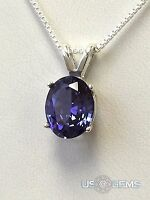 925 Sterling Silver Pendant Created 3 Ct. Tanzanite Chain Necklace Jewelry.