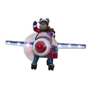 LED-Szenerie-Rentier-Flugzeug-rotierende-Propeller-Schriftzug-Timer-Weihnachten