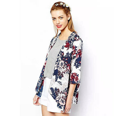 HOT Mode Damen Blumen Bedruckt Strickjacke Chiffon Kimono Jacke Mantel Oberteile