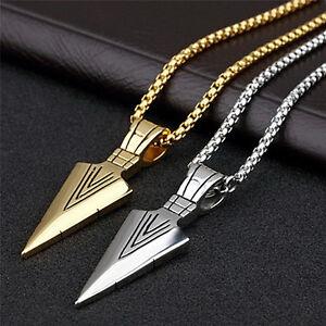 Herren-Edelstahl-Pfeil-Anhaenger-Halskette-Kette-Silber-Gold-Schmuck-XJ
