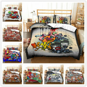 3D-Cartoon-Graffiti-Duvet-Cover-Bedding-Comforter-Cover-Pillow-Case-Kids