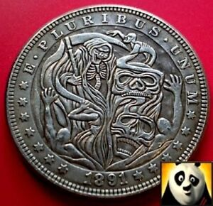 Details about 1891 US Silver $1 Morgan Dollar Hobo Grim Reaper Halloween  Carved Fantasy Coin