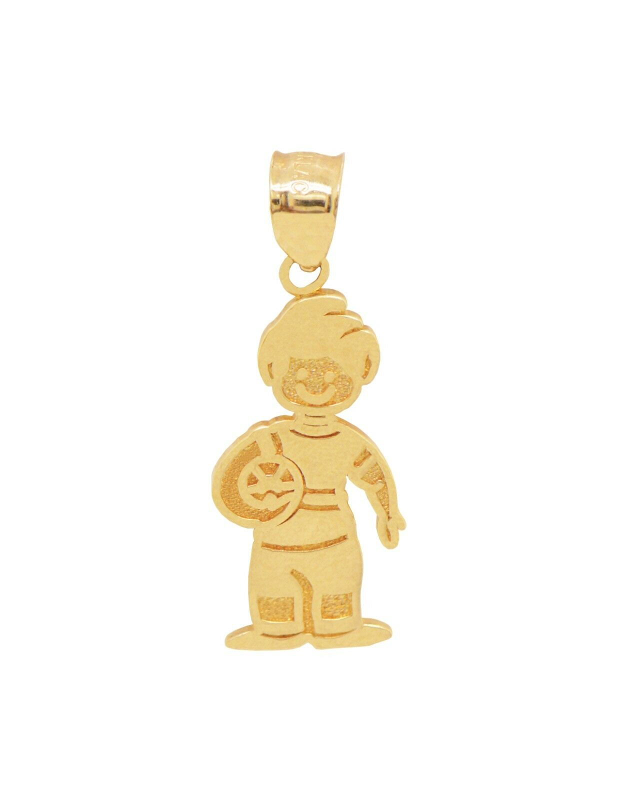 14K Yellow gold Little Boy with Ball Pendant