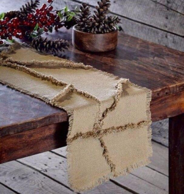 "BURLAP Natural Reverse Seam 48"" Table Runner Rustic Primitive Farmhouse Tan"