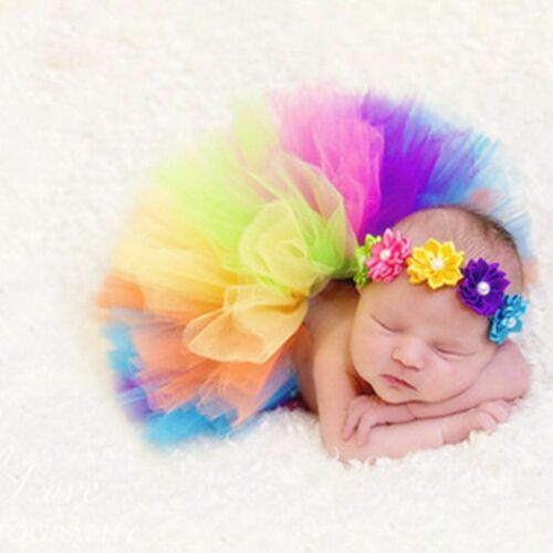 Infant Newborn Baby Girl Mesh Tutu Rainbow Skirt+Headband Photography Prop Photo