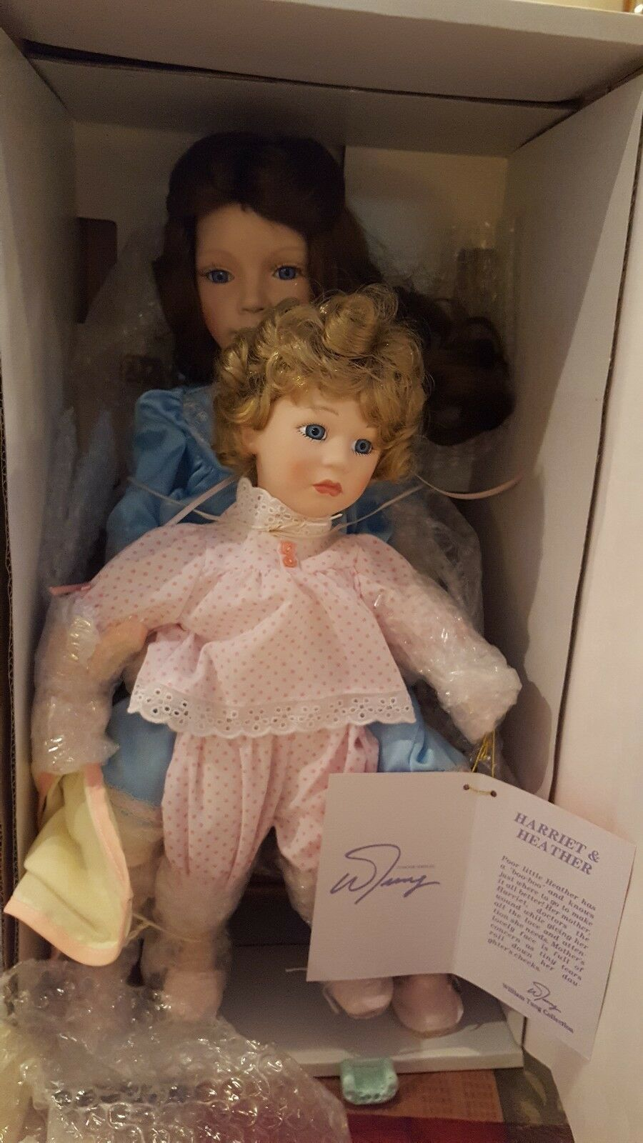 William Tung Porcelain Doll Harriet and Heather.  Dolls Pristine w/ Accessories