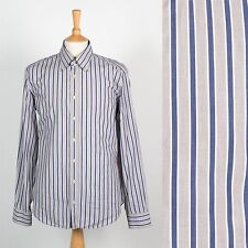 TOMMY HILFIGER MENS STRIPED SHIRT BUTTON DOWN COLLAR BLUE & GREY SUIT OFFICE L
