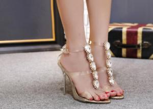 Details about Women's Open Toes Rhinestones PVC Gold Clear Slingbacks Sandals Slim High Heels