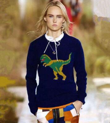 Women Dinosaur Motif Softly Wool Blend Pullover Sweater Bloggers Long Sleeve