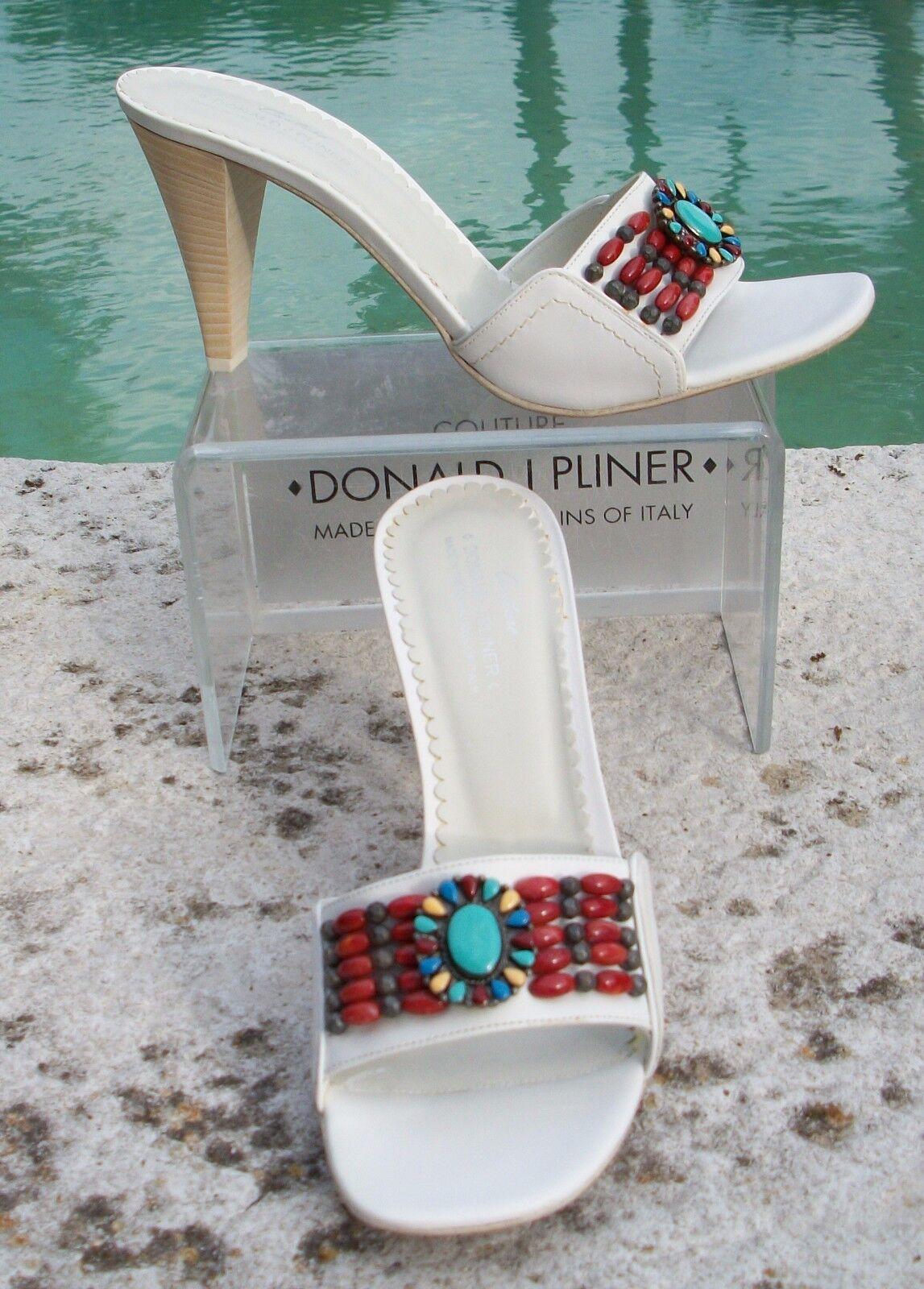 Donald Pliner Couture Metallic Leather chaussures New 10 Chunky Chunky Chunky Stones Velvet NIB  250 badb00