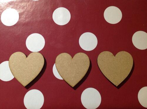 Coeur blanc formes 8 cm et 6 mm d/'épaisseur du bois x10