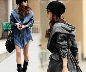 Damen Jeans Jacke kurzer Mantel mit Kapuze Trench Parka Einheitsgröße BC441