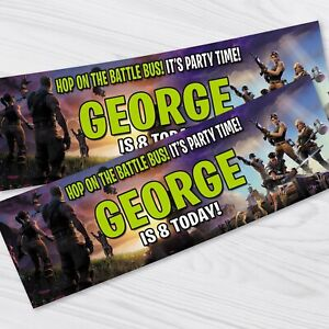 Children Party Banner 2 X Personalised Fortnite Birthday Party Banners