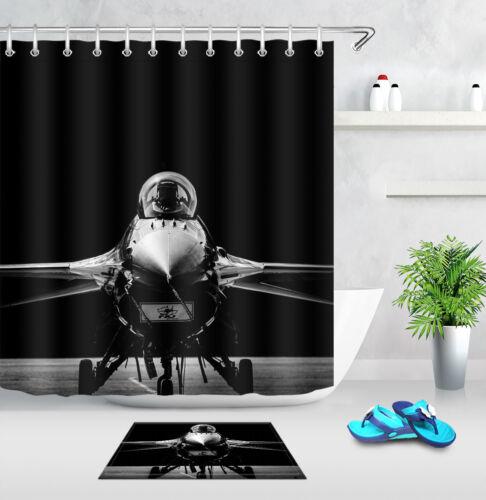 Cool Fighter Plane Bathroom Decor Waterproof Fabric Shower Curtain Hooks Mat Set