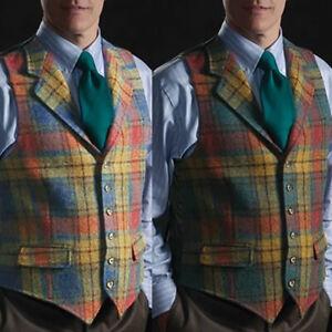 Mens Suit Vest Retro Tweed Waistcoat Plaid Slim Formal Wool Blend Herringbone