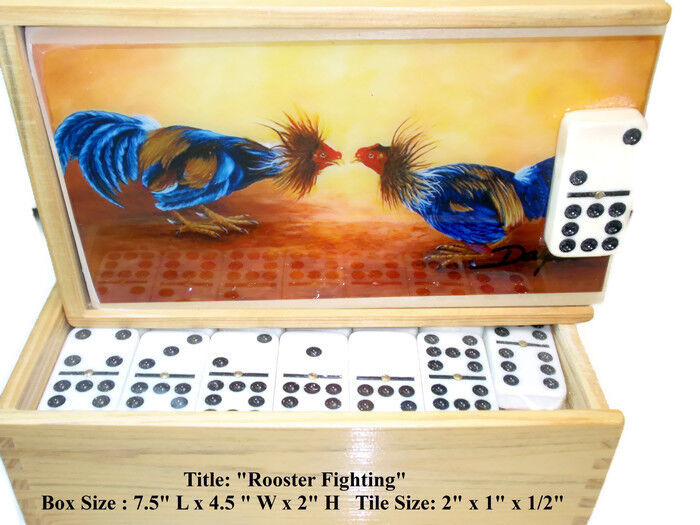 Father's Day Gift    Domino Set Double Nine  Rooster