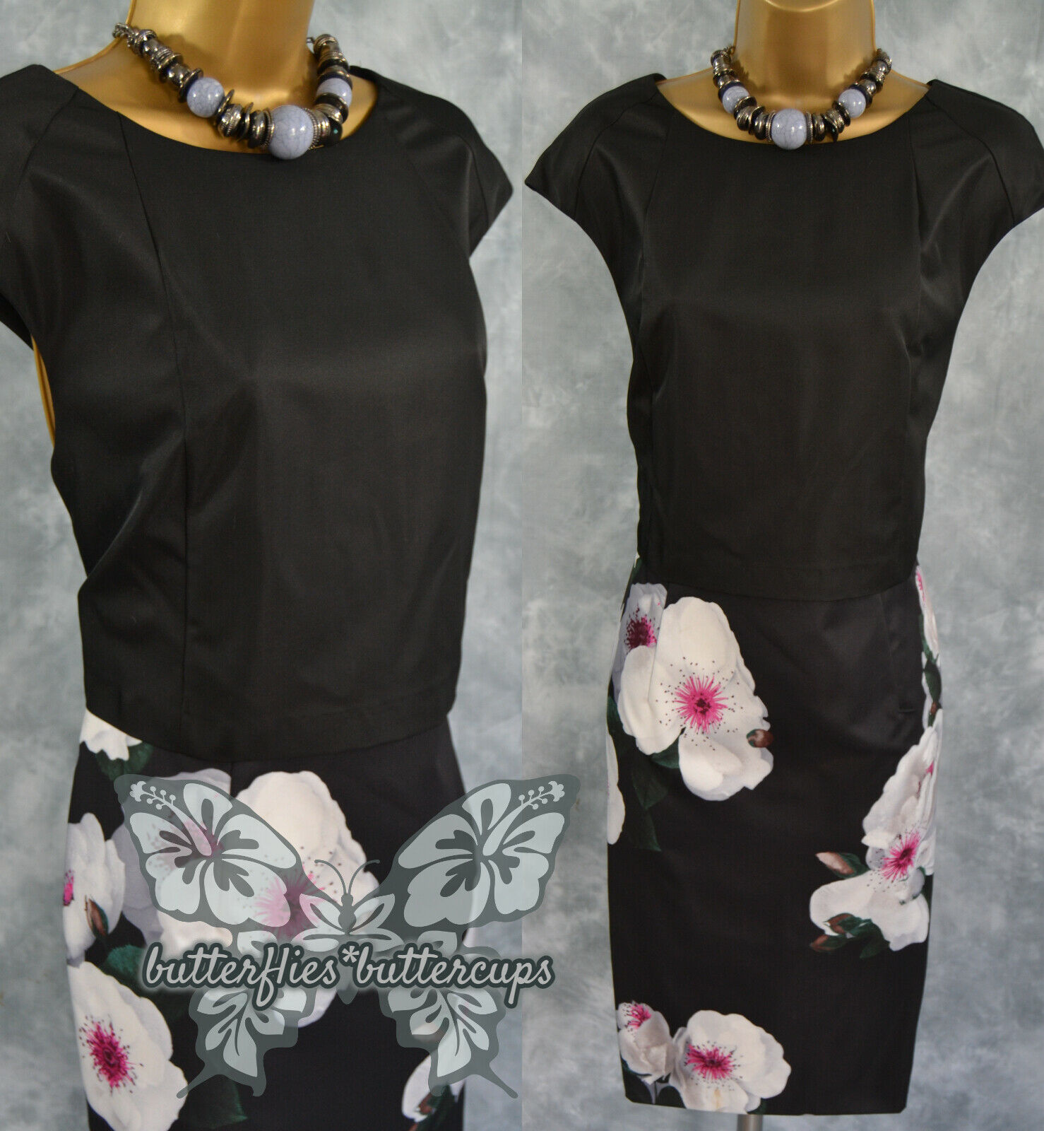 ~ FENN WRIGHT MANSON ~ Size 14 Beautiful Black Floral Dress Mother of the Bride