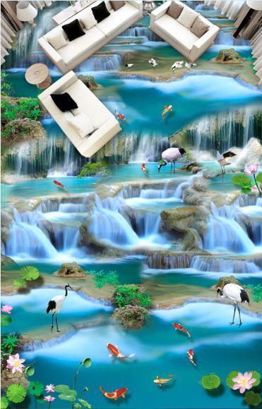 3D water fish flower 178 Floor WallPaper Murals Wall Print Decal 5D AJ WALLPAPER