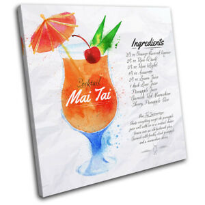 Mai-Tai-Cocktail-Recipe-Bar-Vintage-SINGLE-CANVAS-WALL-ART-Picture-Print