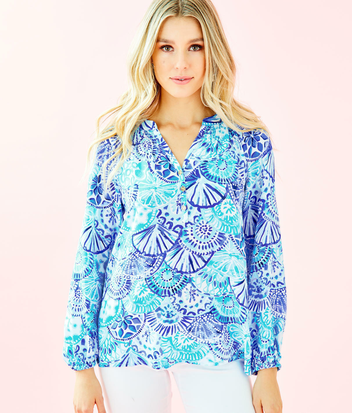 Lilly Pulitzer Elsa Silk Top, Turquoise OASIS Half Shell, AUTHENTIQUE