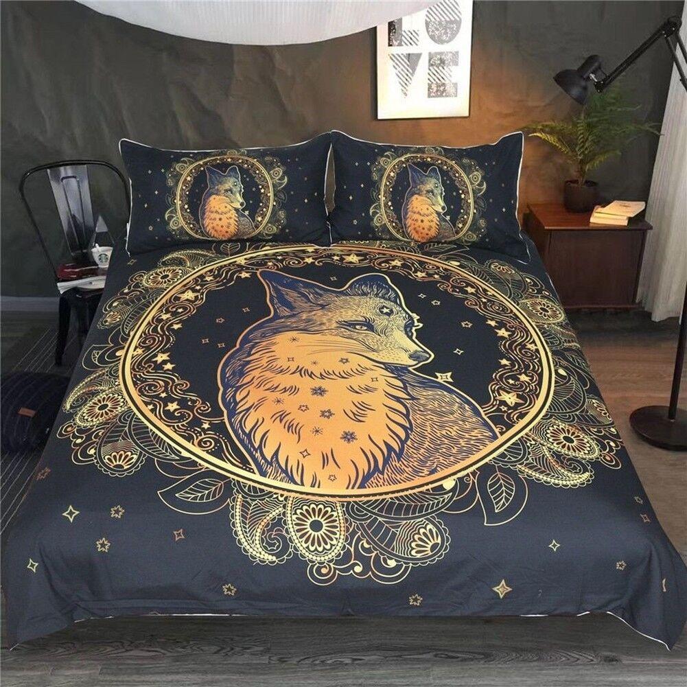 Bedding Set 3-piece Majestic Golden Fox Print Duvet Cover Set Home Textile Gift