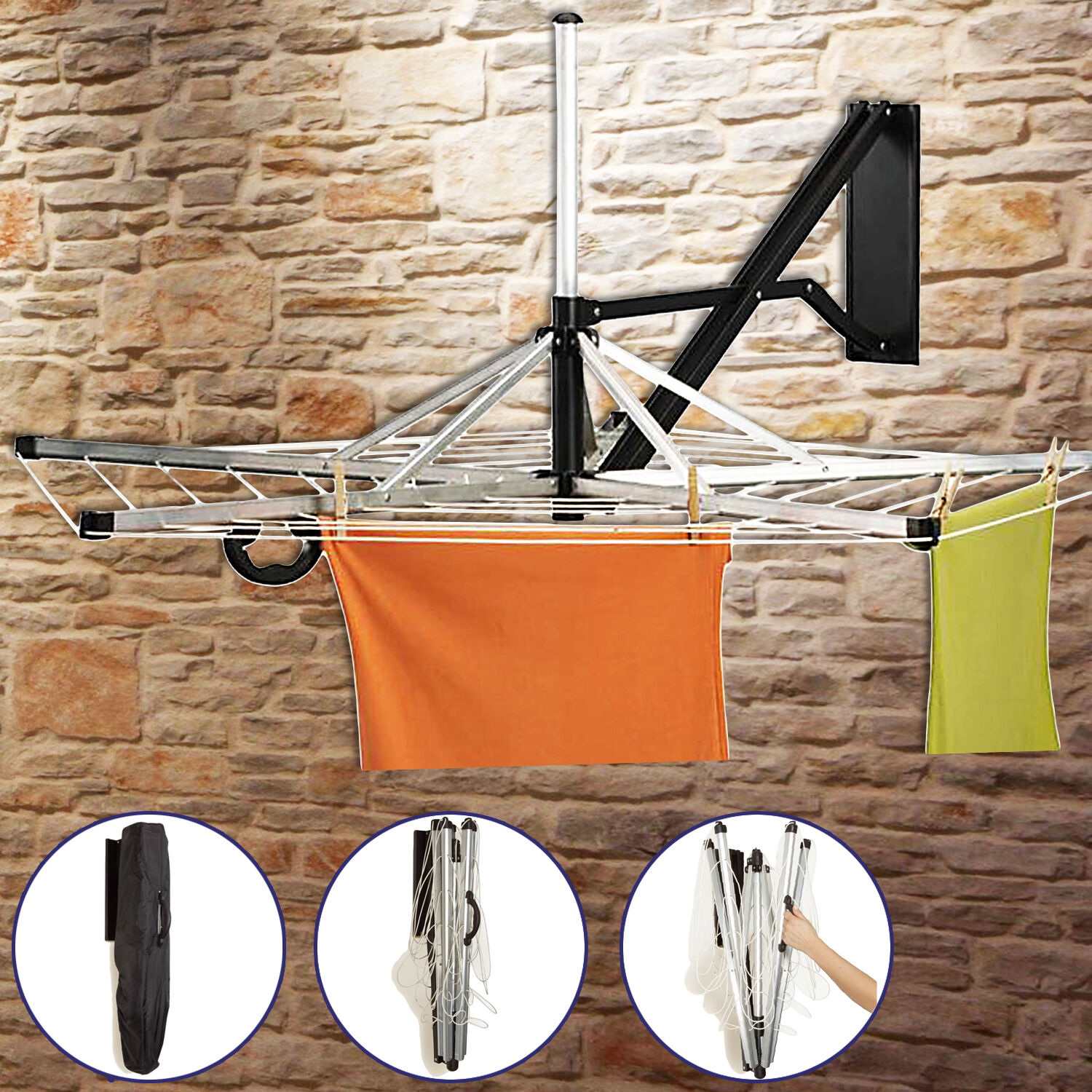 Wall Fix 5 Arm Wall Mounted Rotary Dryer 26m Clothes