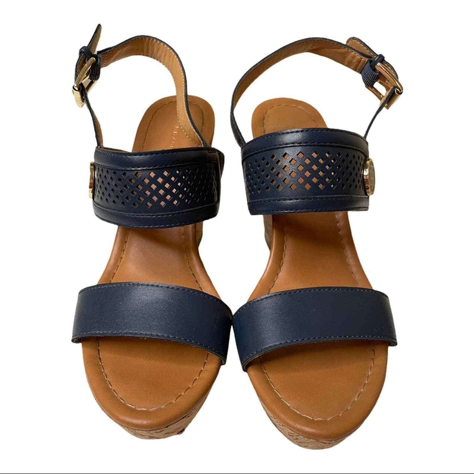 Tommy Hilfiger Navy Cork Wedges with Gold Logo Si… - image 3