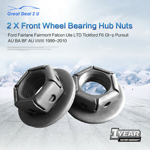 Front-Wheel-Bearing-Hub-Nuts-for-Ford-Falcon-Fairmont-Fairlane-BA-BF-AU-ABS-Pair