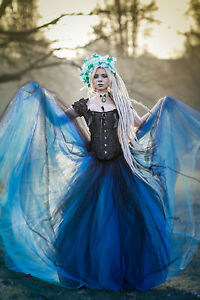 Details About New Black And Blue Vintage Gothic Vampire Corset Long Prom Wedding Party Dresses