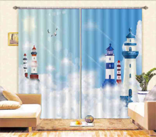 Lighthouse In The Air 3D Curtain Blockout Photo Printing Curtains Drape Fabric