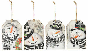 5-75-039-039-H-Snowman-Wooden-Tags-Christmas-Hanging-Ornaments-Decorations-Set-of-4